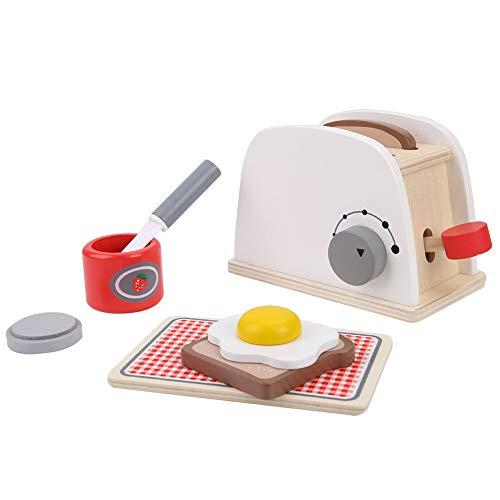 Yinuoday Butter Toaster mit Rollenspiel Holzbrotmaschine Spielzeug Backspiel Küchenzubehör Utensilien Und Schneiden Gemüse Kochmaschine Set für Kinder Kleinkinder