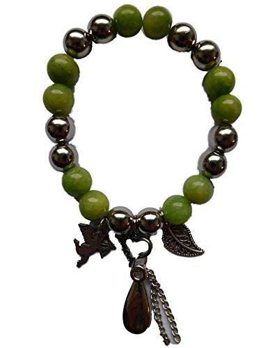 Ausgefallene Armband dehnbar mit tollen Glas Perlen Kunststoff Elementen Charms 22