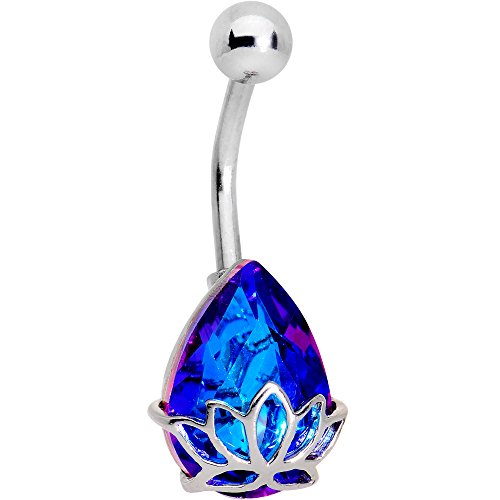 Body Candy Steel Blue Accent Lotus Drop Belly Button Ring