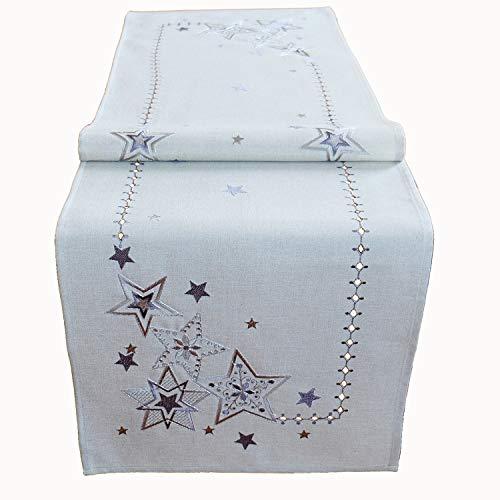 Raebel OHG Stickerei Sterne Schneesterne Mitteldecke Weihnachten Deko Weihnachtstischdecke (grau-Silber, 85 x 85 cm)