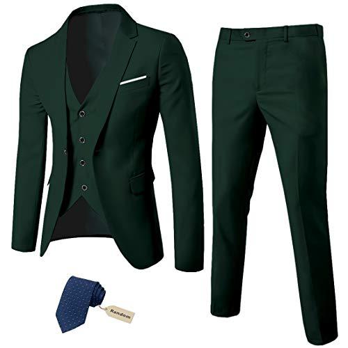 MY 'S Men 's 3 Piece Slim Fit Suit Set, One Button Solid Jacket Vest Pants with Tie Deep Green, X-Large