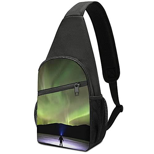Lights _Photograph Crossbody Backpack Shoulder Bag , Lightweight One Strap Backpack Sling Bag Backpack for Hiking Walking Biking Travel Cycling
