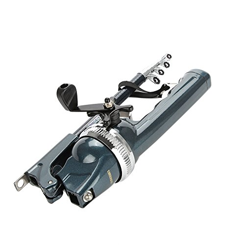 Combo de caña de Pescar y Carrete Giratorio, caña de Pescar telescópica portátil de Acero Inoxidable con Kit de Carrete Giratorio