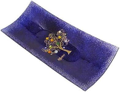 Suspririos Venezia-Descorazonador rectangular de cristal de Murano con árbol de la vida de 13 x 30 cm,técnica de vitrofusión,decoración de paredes y hojas doradas,hecho a mano(azul)