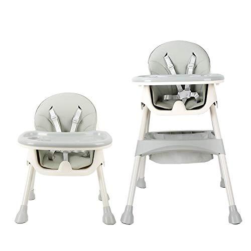 Mitwachsender Hochstuhl Baby, mit 5-Punkt-Sicherheitsgurte, Abnehmbares Tablett, höhenverstellbar, Einfach zu Montierender Hochstühle für Jungen und Mädchen (Azurblau)
