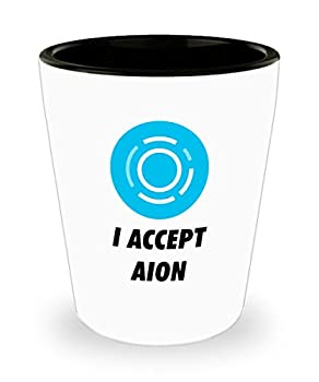 Official I Accept Aion Cryptocurrency Bar Drinking 1.5oz Shot Glass Crypto Miner Blockchain Invest Trade Buy Sell Hold AION