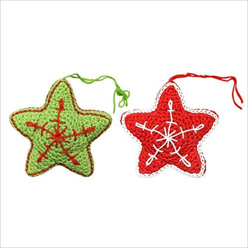 ANOCO ChicnChill 2020 Stars Christmas Ornaments | Craft Kit Crochet Cross Stitch Xmas Tree and Fireplace Decor, Kitchen Art | Holiday Clearance Scandinavian Home Decorations | Set of 2