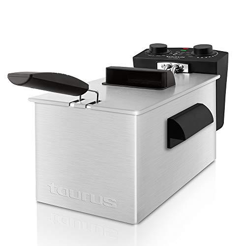 Taurus Fry Time3 – Freidora de 3 litros de Capacidad, Resistencia sumergida, 2100W, Temporizador de 30 Minutos y regulador de Temperatura