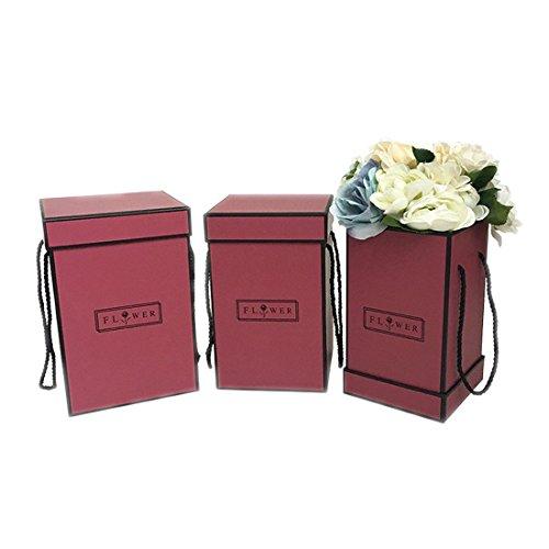 3 Pcs/Lot Boîte d'emballage Fleurs haute Tube carré Seau Jardinière Boîte cadeau, fête de mariage Boîte cadeau, rouge vin