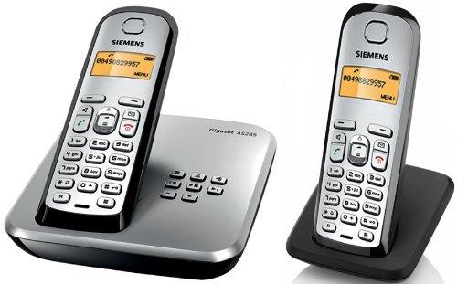 Siemens Gigaset AS285 Duo DECT Schnurlostelefon mit Anrufbeantworter, beleuchtetes Display und Tastatur mit zusätzlichem Mobilteil inkl. Ladeschale, weiß/ silber