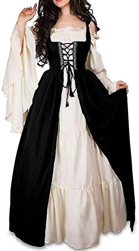 Abaowedding Womens s Medieval Renaissance Costume Cosplay Chemise and Over Dress 2X large 3X product image