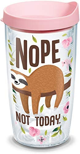 Tervis 1303151 Sloth Nope Not Today Insulated Tumbler with Wrap and Pink Lid 16 oz Clear product image