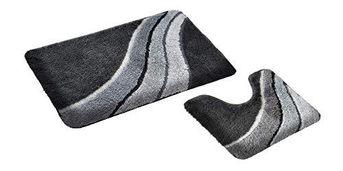 GOODWAY 2-delige badmatset, badmat, badmat, kiel grijs met uitsparing