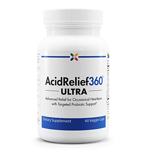 Stop Aging Now - AcidRelief360 Ultra with GutGard and Probiotics - Advanced Occasional Heartburn Relief - Targeted Probiotic Support - 60 Veggie Caps