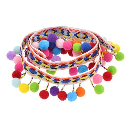 Mini pompones de borde de color con flecos trenzados, flecos, manualidades, fabricación y ocio creativo (cinta mosaico)