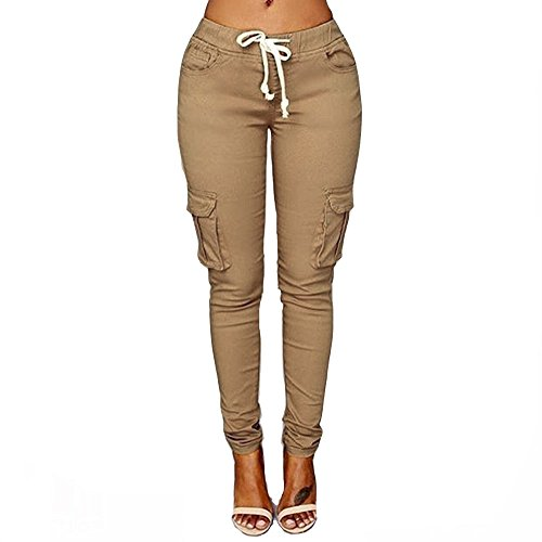 Women's Solid Color Stretch Cargo Joggers Casual Pockets Drawstring Skinny Pants Light Khaki