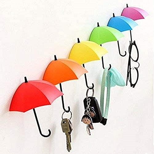 SpyShop Colorful Umbrella Key Holder, Key Hanger,Wall Key Rack,Wall Key Holder,Key Organizer for Keys, Jewelry and Other Small Items (6PCS)