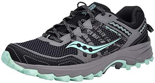 Saucony Women's Grid Excursion TR12 Sneaker, Black/Grey/Mint, 9 W US