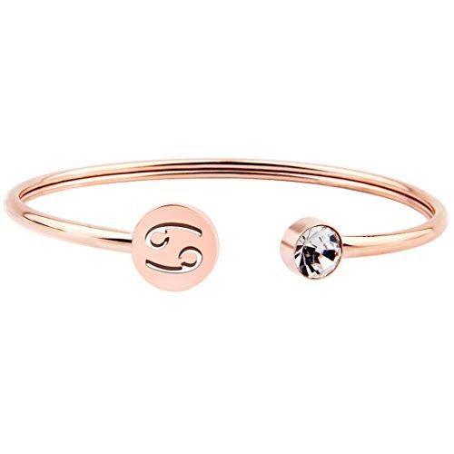 Zuo Bao Pulsera de oro rosa simple con signo del zodiaco con piedra natal, regalo de cumpleaños para mujeres y niñas