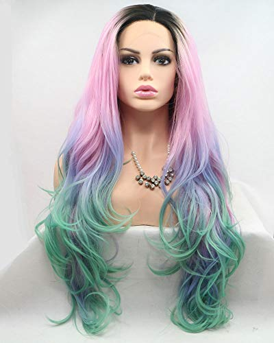 """Cosplay Party Hairstyle Mermaid Colorful Long Hair Natural Wave Synthetic Lace Front Wigs for Drag Queen Short Dark Roots Ombre Light Blue Purple/Pink/Green Four Tone Glueless Wedding Wigs 26"""""""