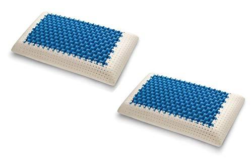 Materassiedoghe Cuscino Blue2Air in MyMemory Memory Foam Termosensibile Altamente Traspirante - 100% Made in Italy - Fodera Cotone Naturale (2 Cuscini)