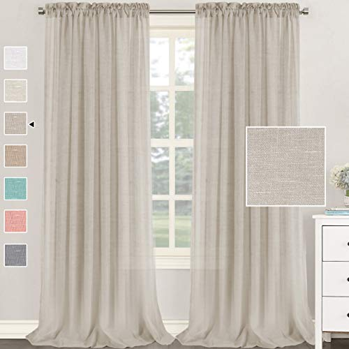 H.VERSAILTEX Natural Linen Blended Curtains 95 Inches Length 2 Panels Textured Woven Linen Sheer Curtain Drapes for Living Room/Bedroom Light Filtering Rod Pocket Casual Draperies - Linen