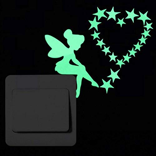 FICI Cartoon Sticker wanddecoratie Glow in the Dark Cat Sticker Fluorescerende Fairy Stars Sticker Room Home Decor, 002 Fairy Stars