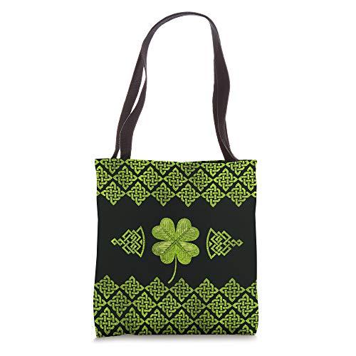 Irish Shamrock Four-leaf clover with celtic decor Tote Bag