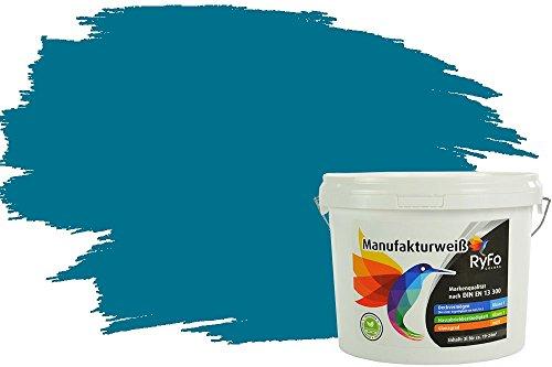 RyFo Colors Bunte Wandfarbe Manufakturweiß Dunkeltürkis 3l - weitere Grün Farbtöne und Größen erhältlich, Deckkraft Klasse 1, Nassabrieb Klasse 1