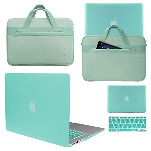 Love My Case / BUNDLE EGG BLUE/OCEAN GREEN Hard Shell Case with matching KEYBOARD Skin and NEOPRENE Sleeve Cover for Apple MacBook Air 13 inch (13') A1369 / A1466 [Please Check your model number)]
