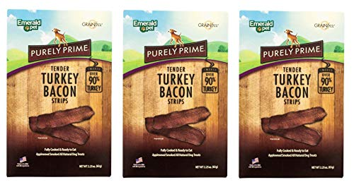 Emerald Pet 3 Pack of Purely Prime Tender Turkey Bacon Strips, 2.25 Ounces Each, Gluten-Free Dog Treats Made in The USA