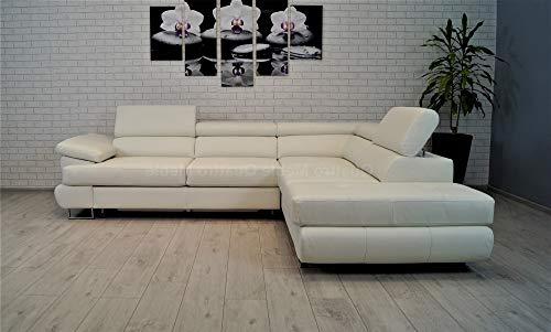 Quattro Meble wit echt leer hoekbank 275 x 225 sofa bank met slaapfunctie, bedlade en hoofdsteunen echt leer hoekbank (275 x 225 hoekrechts)
