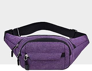 Fashion Single-Shoulder Bags Pure Color Multi-Function Pockets Waterproof Chest Bag Waist Crossbody Sports Bag (Black) (Color : Purple)