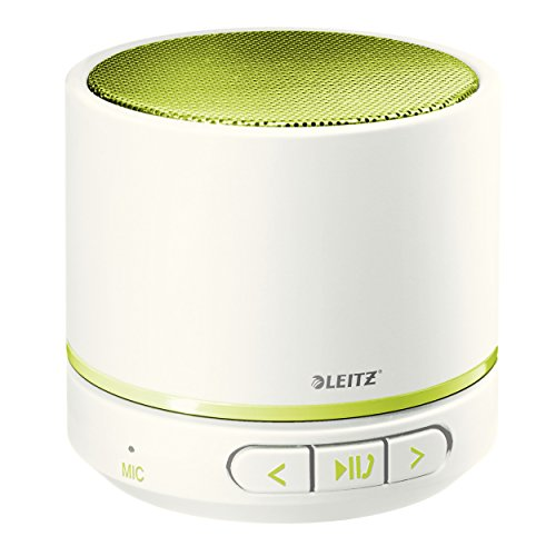 Leitz Mini Bluetooth Lautsprecher, Inkl. 1 Mini USB-Ladekabel mit Kopfhöreranschluss, 6 Std. Spielzeit, Kraftvoller Klang, WOW, Grün Metallic, 63581064