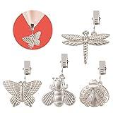 GWHOLE 4 Piezas Clips para Mantel, Mantel Peso Metal Pinza Prueba de Viento - Formas Mariposa, Abeja, Mariquita, Libélula