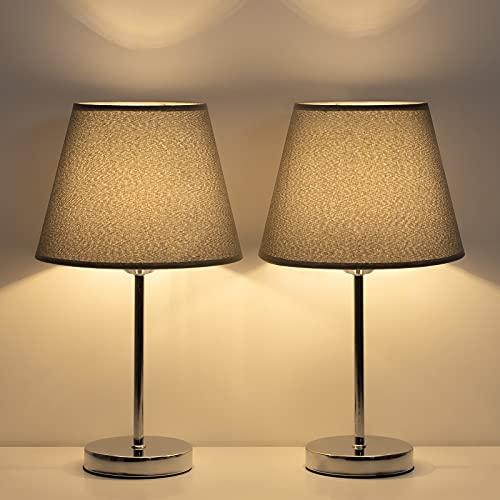 LIANTRAL Juego de 2 lámparas de mesita de noche con pantalla de tela negra y marco de metal para dormitorio, salón, oficina