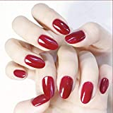 Earent Oval Fake Nails Red Pure Color Glossy Press on Nails Short Artificial Full Cover False Nail Tips for Women and Girls (24Pcs)