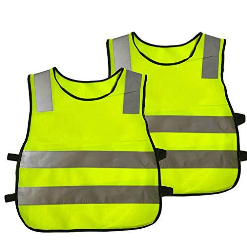 HYCOPROT Warnwesten 2 Stück Sicherheitsweste Kinder Baby Hohe Reflektierende Kleinkind Arbeitskleidung Sichtbarkeit Weste Jacke 4 Band Gurte(Gelb)