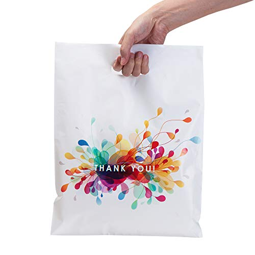 Thank You Bags for Business with Handles 12x15 (100 Count, White) - Plastic Shopping Bags for Boutique and Merchandise Bags