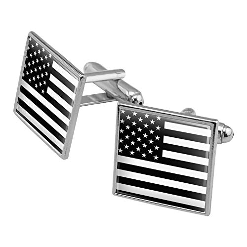 Graphics and More Subdued American USA Flag Black White Military Tactical Square Cufflink Set Silver Color