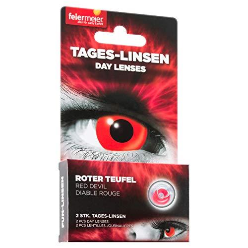 ffeiermeier® Kontaktlinsen (Tageslinsen) ohne Stärke (1 Paar = 2 Stk.) - für Halloween, Fasching & Co. (Rot Blutunterlaufen)