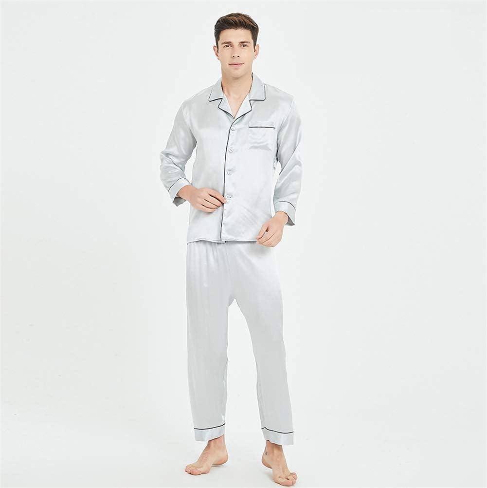 100 Pure Silk Pyjamas for Men Set Long Sleepwear Pyjama Set Pure Mulberry Silk Lightweight Male Pjs-for Gifts