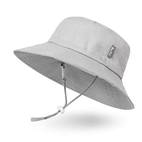 Ami&Li tots Chapeau de Soleil Bob Unisexe Réglable Chapeau Protection Solaire pour Bébé Fille Garçon Nourrisson Enfants Tout-Petit UPF 50 - S : Gris Clair
