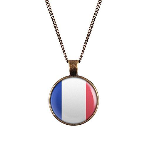 WeAreAwesome Frankreich Flagge Halskette - France Länderkette Paris mit Fahne Anhänger Unisex Kette