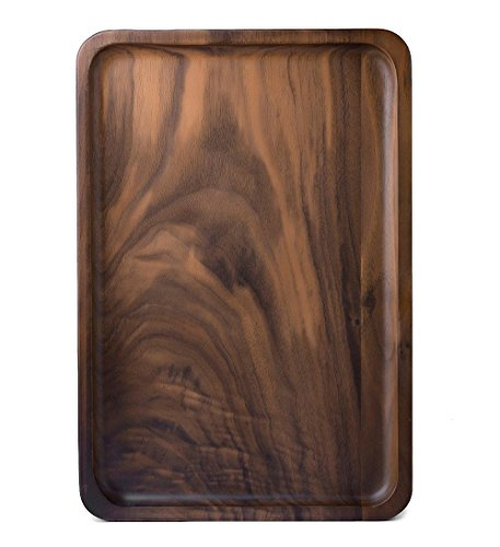 Rustic Walnut Wooden Tray Solid Wood Serving Tray Square Rectangle Platter Tea Tray Coffee Table Tray Rectangle Small 12x6x09 inch