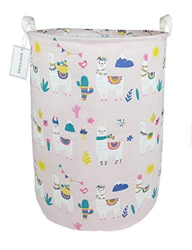 QIMI Large Storage Bins,Waterproof Laundry Hamper with Handles Canvas Organizer Bin for Kids Hamper Nursery Hamper (alpaca)