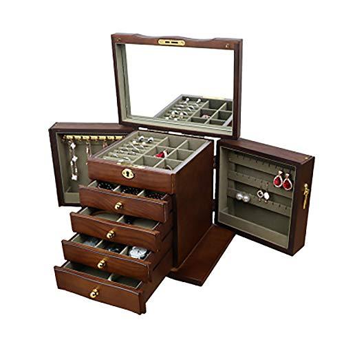 LJJ - Joyero de madera antigua, multifuncional, gran capacidad, caja de almacenamiento para collares, anillos, pendientes, pulseras, color marrón