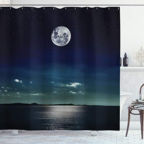 """Ambesonne Ocean Shower Curtain, Full Moon Reflected in The Sea Moon Rays Surface Starry Sky Night Scenic View Print, Cloth Fabric Bathroom Decor Set with Hooks, 70"""" Long, Black Navy"""