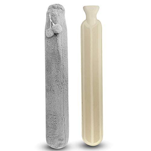Long Hot Water Bottle | 2L Rubber Water Bottle with Soft Fleece Material Cover | Hot Water Bottle for Neck, Back, Legs & Shoulder | Pukkr (Grey)