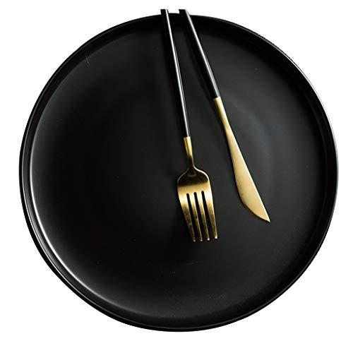 platos De Carne Occidental Europeo Redondo Plano De Ensalada De Pasta Blanca para El Hogar Apto para Lavavajillas, Ensalada, Fruta, Ramen (Color : Black, Size : 7.5inch)